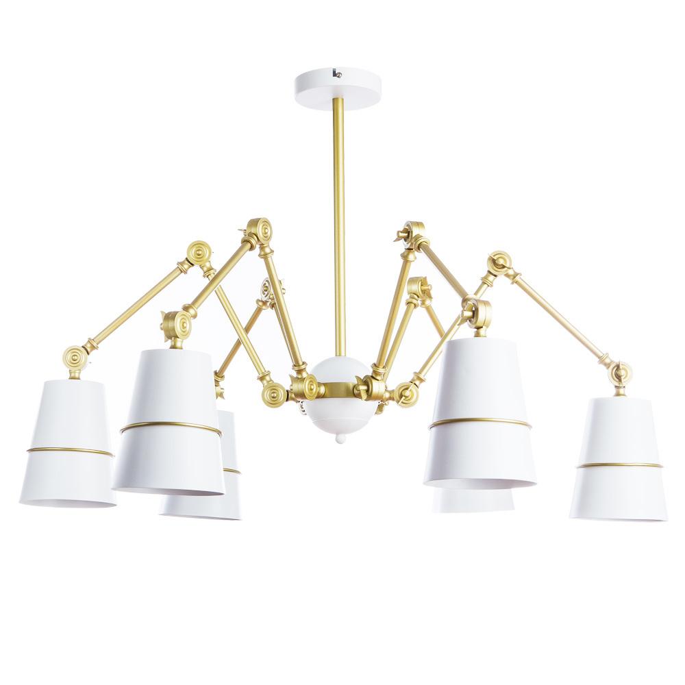 Подвесная люстра с регулировкой направления света Divinare Reattiva 8035/03 LM-6, 6xE27x40W, белый, матовое золото, металл - фото 1