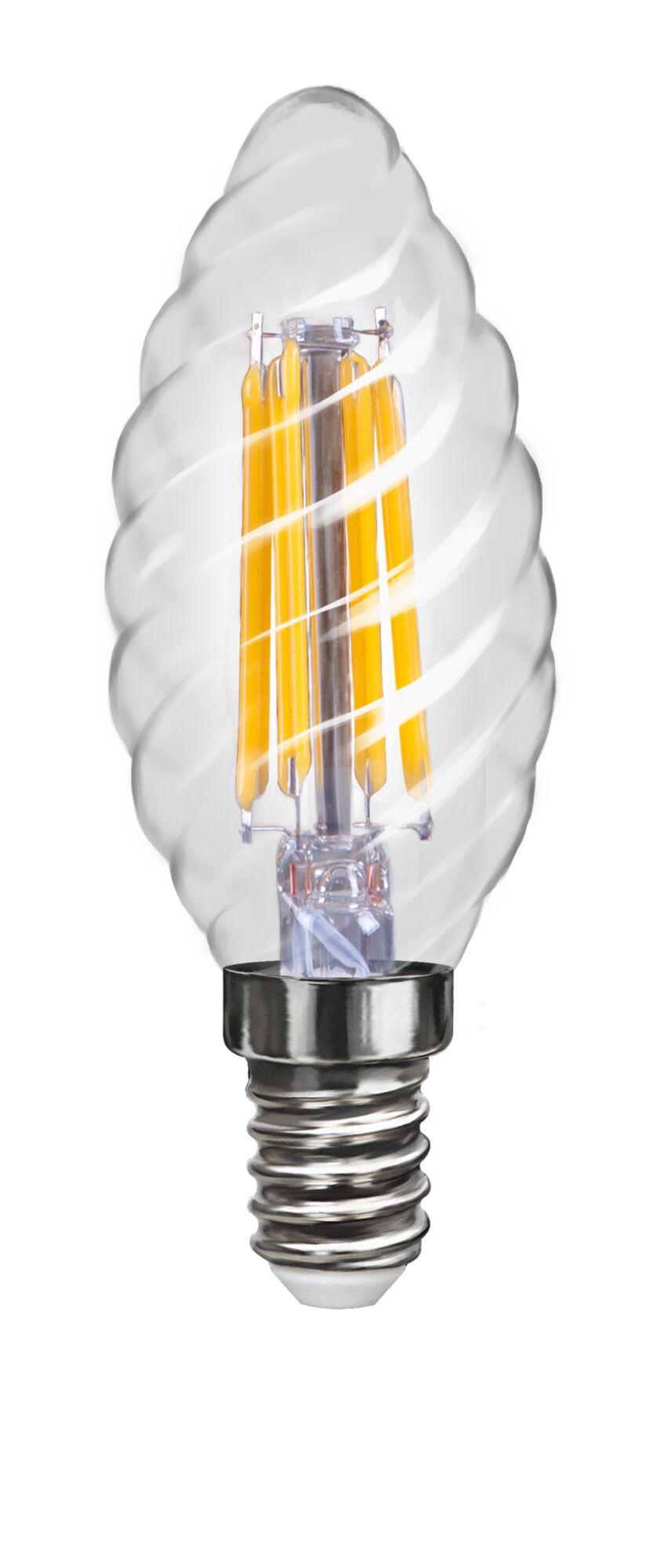 Филаментная светодиодная лампа Voltega VG1-CC1E14cold4W-F 4670 витая свеча E14 4W, 4000K (дневной), гарантия 3 года - фото 1