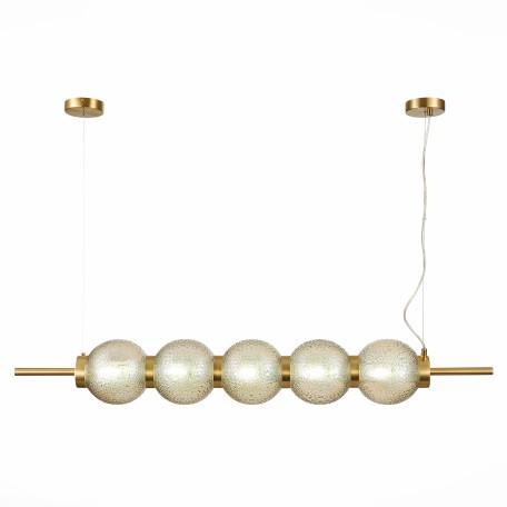 Подвесной светильник ST Luce Marena SL1155.303.05, 5xE14x40W, матовое золото, янтарь, металл, стекло