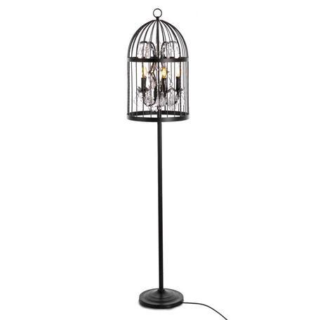 Торшер Loft It Vintage Birdcage LOFT1891F, 5xE14x40W, черный, прозрачный, металл, хрусталь