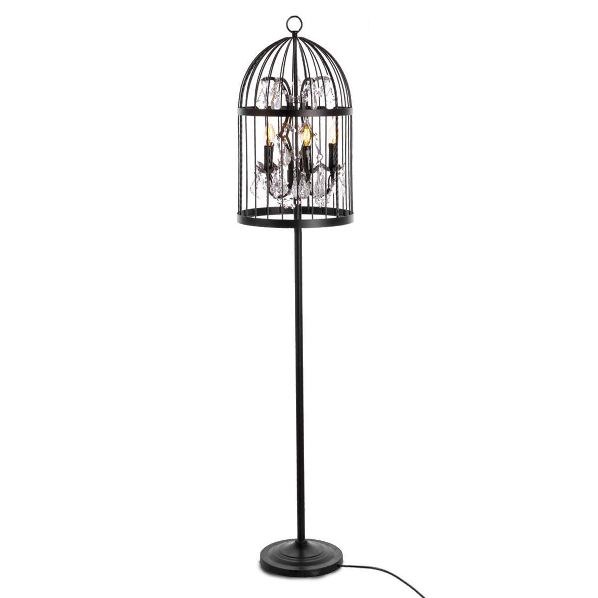 Торшер Loft It Vintage Birdcage LOFT1891F, 5xE14x40W, черный, прозрачный, металл, хрусталь - фото 1