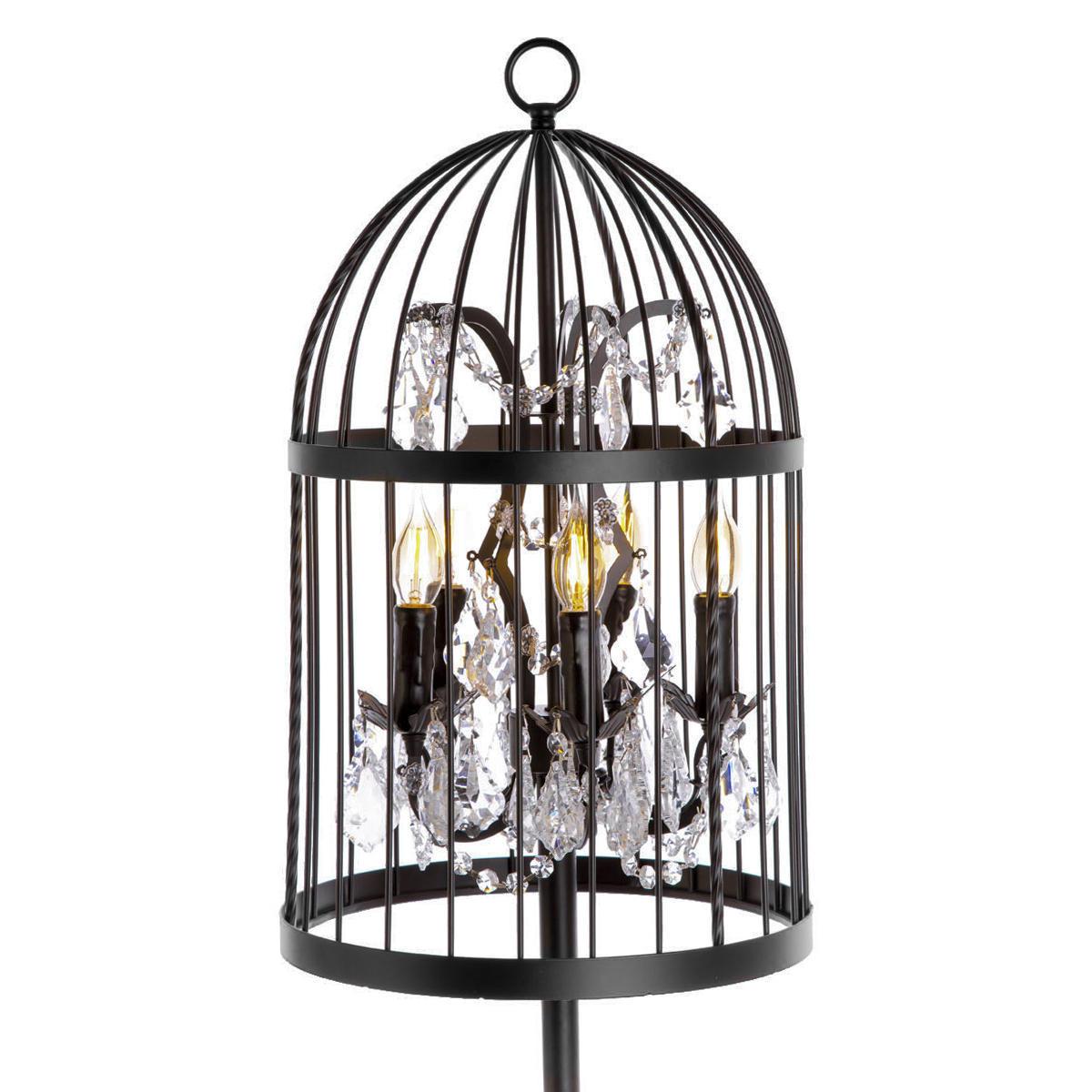 Торшер Loft It Vintage Birdcage LOFT1891F, 5xE14x40W, черный, прозрачный, металл, хрусталь - фото 2