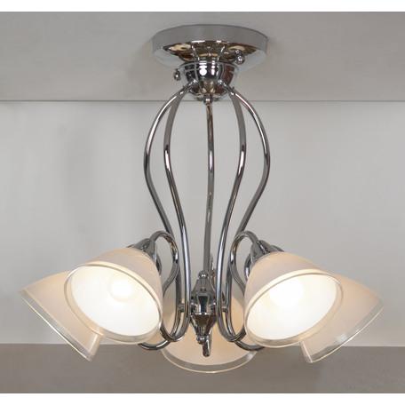 Потолочная люстра Lussole Kstall LSP-0003, IP21, 5xE14x40W, хром, белый, металл, стекло