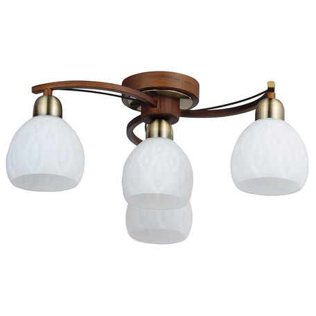 Потолочная люстра Lussole Kstall LSP-0044, IP21, 4xE14x40W, коричневый, белый, металл, стекло