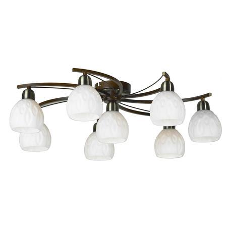 Потолочная люстра Lussole Kstall LSP-0046, IP21, 8xE14x40W, коричневый, белый, металл, стекло