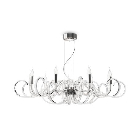 Подвесная люстра Maytoni Atlanta MOD051PL-09TR, 9xE14x40W + LED, прозрачный, хром, стекло
