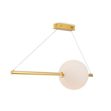 Подвесной светодиодный светильник Maytoni Freccia MOD063PL-L30G3K, LED 30W 3000K 2500lm CRI80, матовое золото, бежевый, металл, стекло