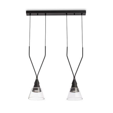 Подвесной светильник Maytoni Hilo P063PL-02B, 2xGU10x40W, черный, прозрачный, металл, стекло