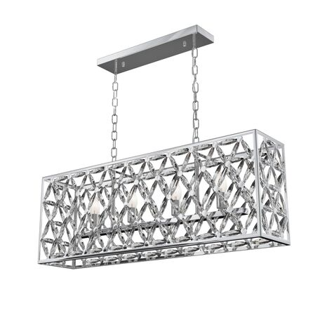 Подвесной светильник Maytoni Ledas MOD069PL-04CH, 4xE14x60W, хром, прозрачный с хромом, хром с прозрачным, металл, хрусталь с металлом