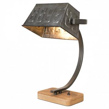 Настольная лампа Lussole Loft Selma LSP-0511, IP21, 1xE27x60W, коричневый, серый, дерево, металл