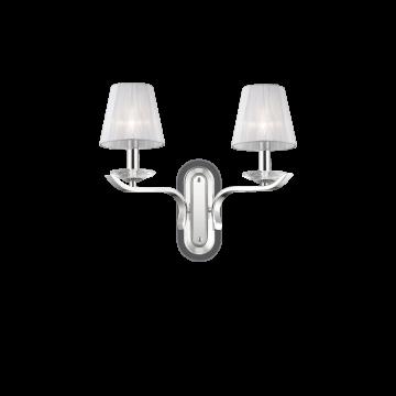 Бра Ideal Lux PEGASO AP2 BIANCO 059211, 2xE14x40W, прозрачный, белый, металл с хрусталем, текстиль