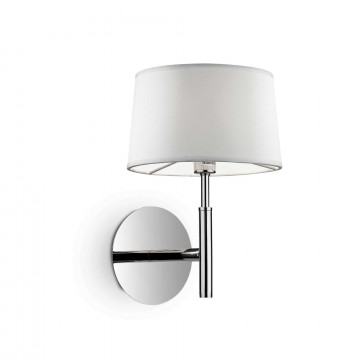 Бра Ideal Lux HILTON AP1 BIANCO 075471, 1xG9x40W, хром, белый, металл, текстиль, стекло