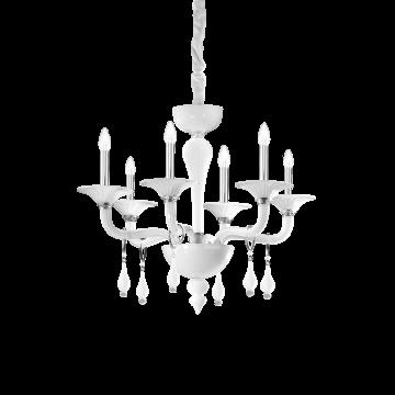 Подвесная люстра Ideal Lux MIRAMARE SP6 068183, 6xE14x40W, белый, хром, прозрачный, металл, стекло