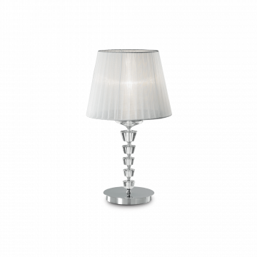 Настольная лампа Ideal Lux PEGASO TL1 BIG BIANCO 059259, 1xE27x60W, прозрачный, белый, хрусталь, текстиль