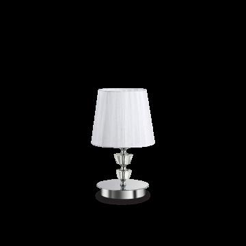 Настольная лампа Ideal Lux PEGASO TL1 SMALL BIANCO 059266, 1xE14x40W, прозрачный, белый, металл с хрусталем, текстиль