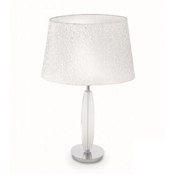 Настольная лампа Ideal Lux ZAR TL1 BIG 061054, 1xE27x60W, прозрачный, белый с серебром, стекло, текстиль