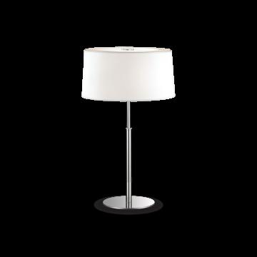Настольная лампа Ideal Lux HILTON TL2 BIANCO 075532, 2xE14x40W, хром, белый, металл, текстиль, стекло