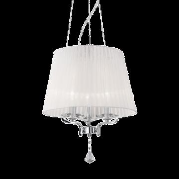Подвесная люстра Ideal Lux PEGASO SP3 BIANCO 059235, 3xE14x40W, прозрачный, белый, металл с хрусталем, текстиль, хрусталь