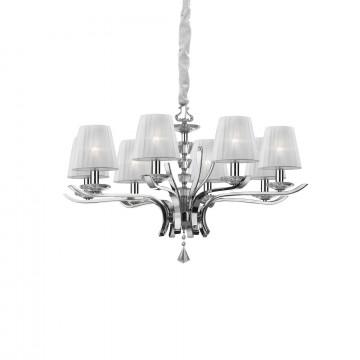 Подвесная люстра Ideal Lux PEGASO SP8 BIANCO 059242, 8xE14x40W, прозрачный, белый, металл с хрусталем, текстиль, хрусталь