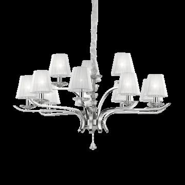 Подвесная люстра Ideal Lux PEGASO SP12 BIANCO 066431, 12xE14x40W, прозрачный, белый, металл с хрусталем, текстиль, хрусталь