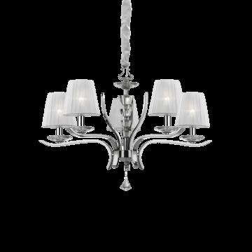 Подвесная люстра Ideal Lux PEGASO SP5 BIANCO 066448, 5xE14x40W, прозрачный, белый, металл с хрусталем, текстиль, хрусталь