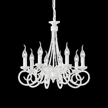 Подвесная люстра Ideal Lux BRANDY SP8 066639, 8xE14x40W, белый, металл
