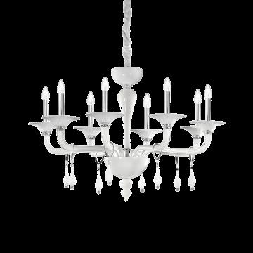 Подвесная люстра Ideal Lux MIRAMARE SP8 068190, 8xE14x40W, белый, хром, прозрачный, металл, стекло