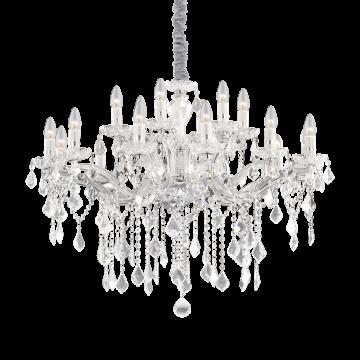 Подвесная люстра Ideal Lux FLORIAN SP18 CROMO 075150, 18xE14x40W, прозрачный, хром, металл, стекло