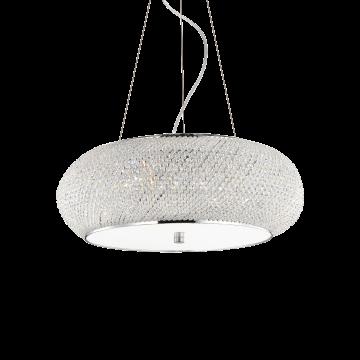 Подвесная люстра Ideal Lux PASHA' SP10 CROMO 082196, 10xE14x40W, хром, прозрачный, металл, стекло