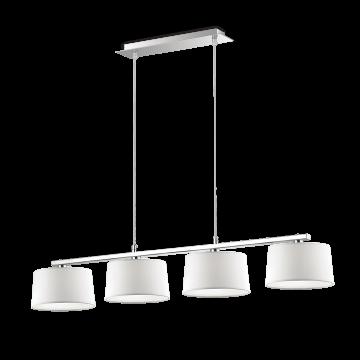 Подвесной светильник Ideal Lux HILTON SP4 LINEAR BIANCO 075495, 4xG9x40W, хром, белый, металл, текстиль, стекло