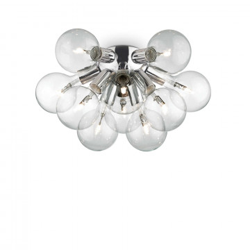 Потолочная люстра Ideal Lux DEA PL10 074740, 10xE27x20W, хром, прозрачный, металл, стекло