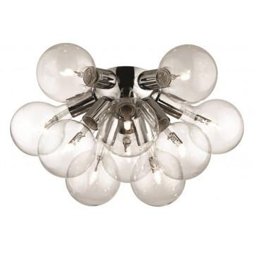Потолочная люстра Ideal Lux DEA PL10 CROMO 074740, 10xE27x20W, хром, прозрачный, металл, стекло