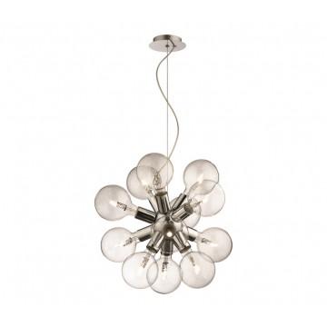 Подвесная люстра Ideal Lux DEA SP12 CROMO 074771, 12xE27x20W, хром, прозрачный, металл, стекло