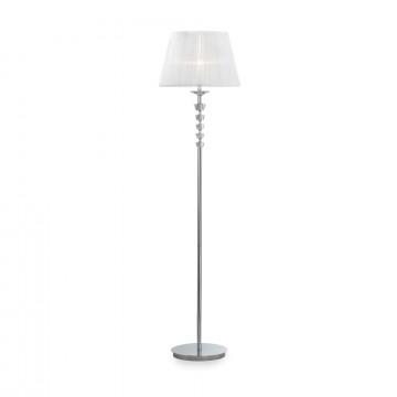 Торшер Ideal Lux PEGASO PT1 BIANCO 059228, 1xE27x60W, прозрачный, белый, металл с хрусталем, текстиль