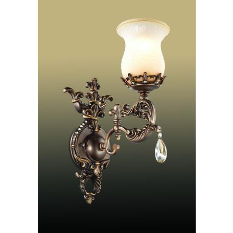 Бра Odeon Light Varza 2430/1W, 1xE27x60W, бронза, прозрачный, белый, металл, хрусталь, стекло