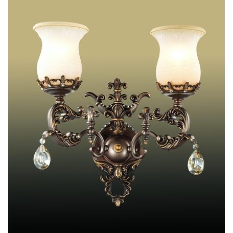 Бра Odeon Light Varza 2430/2W, 2xE27x60W, бронза, прозрачный, белый, металл, хрусталь, стекло