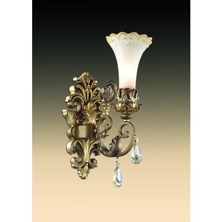 Бра Odeon Light Ponga 2431/1W, 1xE14x60W, бронза, прозрачный, белый, металл, хрусталь, стекло
