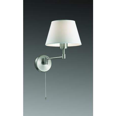 Бра Odeon Light Gemena 2480/1W, 1xE27x40W, никель, белый, металл, текстиль