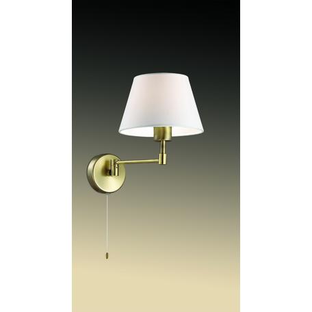 Бра Odeon Light Gemena 2481/1W, 1xE27x40W, бронза, белый, металл, текстиль