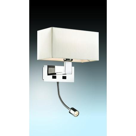 Бра с дополнительной подсветкой Odeon Light Modern Norte 2421/1A, 1xE27x60W + LED 1W, хром, бежевый, металл, текстиль