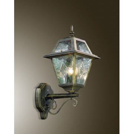 Настенный фонарь Odeon Light Outer 2315/1W, IP44, 1xE27x60W, коричневый с золотой патиной, прозрачный, металл, металл со стеклом