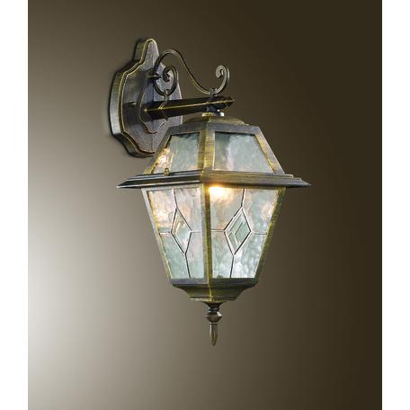 Настенный фонарь Odeon Light Outer 2316/1W, IP44, 1xE27x60W, коричневый с золотой патиной, прозрачный, металл, металл со стеклом