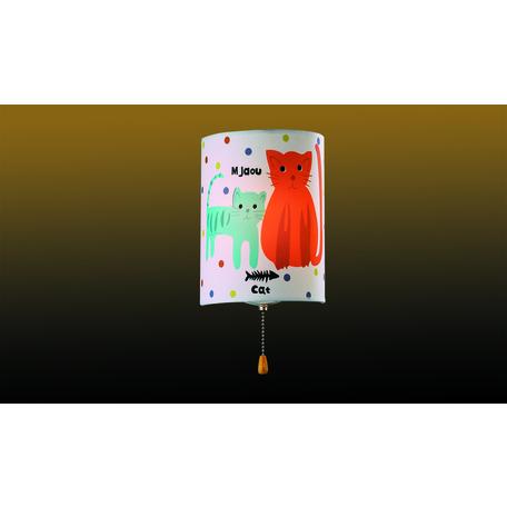 Настенный светильник Odeon Light Kids Cats 2279/1W, 1xE14x40W, белый, разноцветный, металл, текстиль