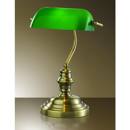 Настольная лампа Odeon Light Standing Tres 2224/1T, 1xE27x60W, бронза, зеленый, металл, стекло