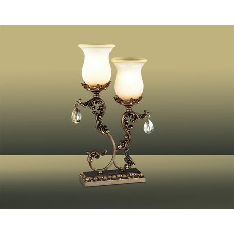 Настольная лампа Odeon Light Varza 2430/2T, 2xE27x60W, бронза, прозрачный, белый, металл, хрусталь, стекло