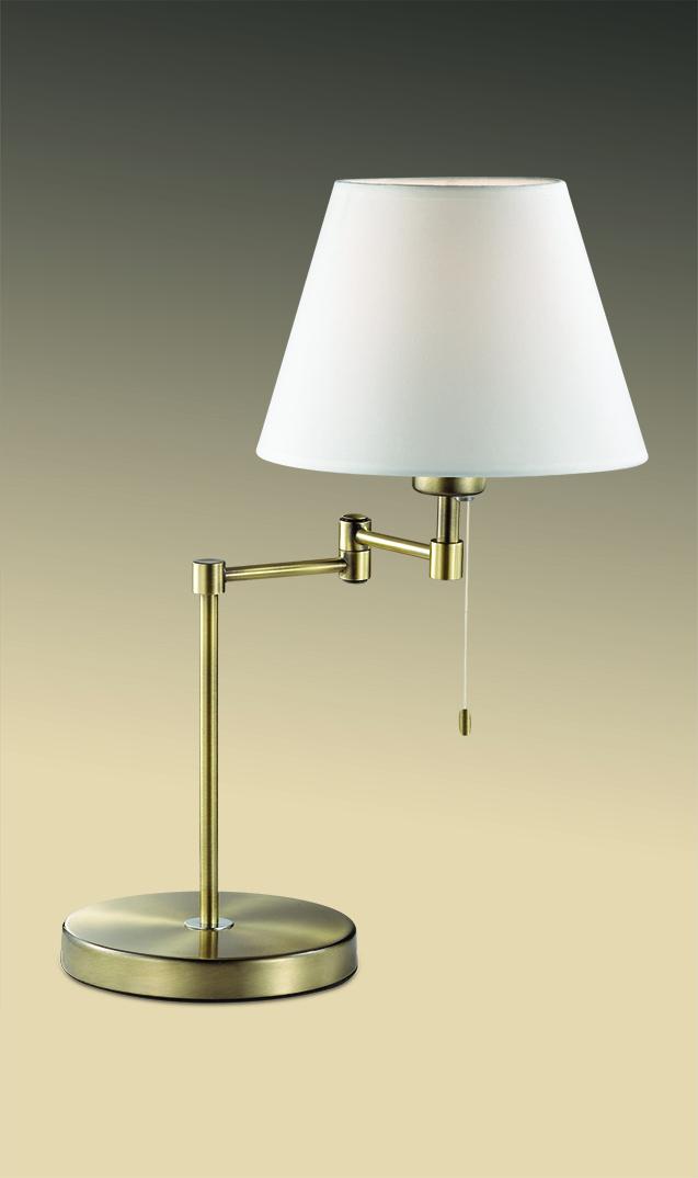 Настольная лампа Odeon Light Gemena 2481/1T, 1xE27x60W, бронза, белый, металл, текстиль - фото 1