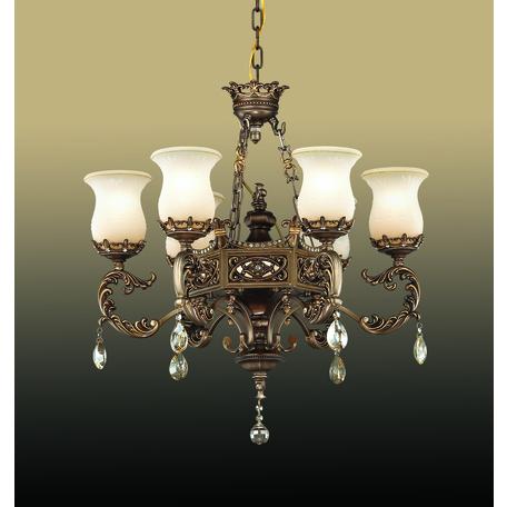 Подвесная люстра Odeon Light Varza 2430/7, 7xE27x60W, бронза, прозрачный, белый, металл, хрусталь, стекло