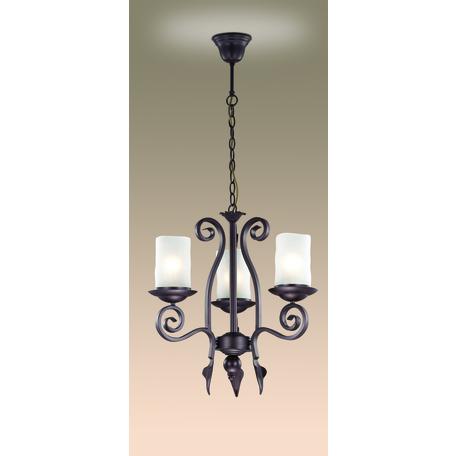 Подвесная люстра Odeon Light Bosta 2438/3, 3xE27x60W, коричневый, белый, металл, стекло