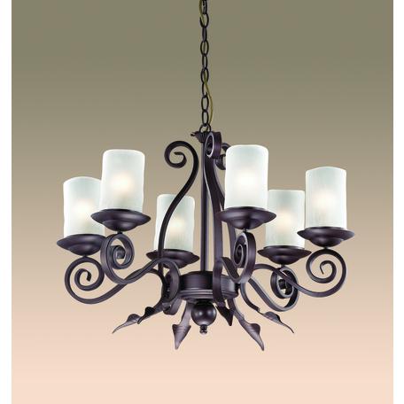 Подвесная люстра Odeon Light Bosta 2438/6, 6xE27x60W, коричневый, белый, металл, стекло