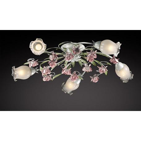 Потолочная люстра Odeon Light Country Ameli 2252/5C, 5xE14x60W, зеленый, розовый, разноцветный, белый, металл, стекло